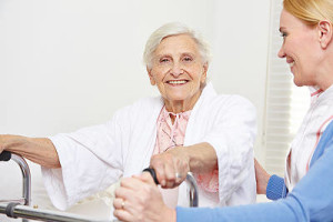 senior woman with Miami home care aide