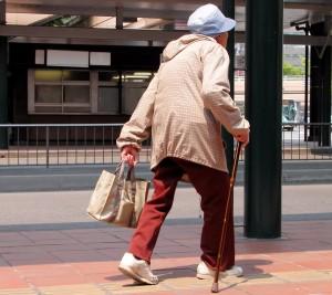 Senior Transportation - Old woman walking