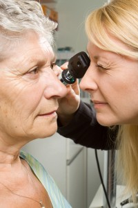 Elderly lady having a regular eye checkup