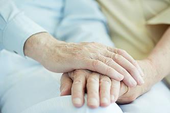 Comforting senior with Alzheimer's disease