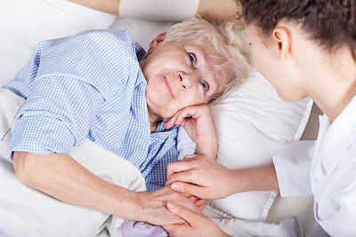 stroke victim and home care aide