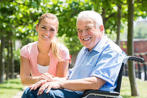Elderly man with non-medical home care aide